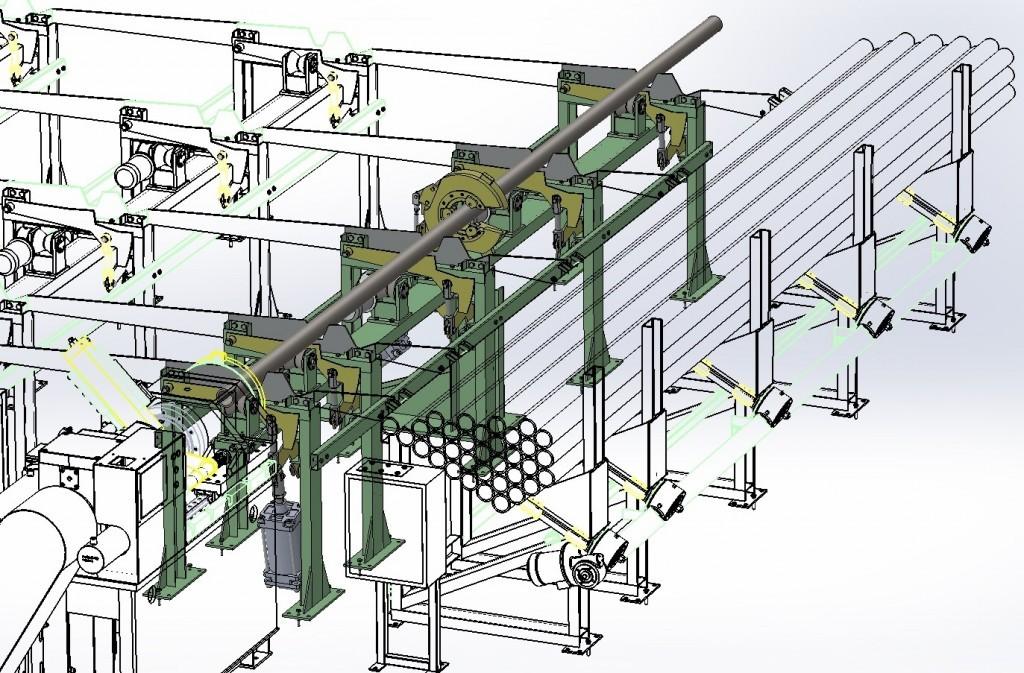 Механизм двухкоординатного перемещения заготовок с автоматическим откидным люнетом